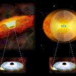 Черные дыры объединяющихся галактик окутаны коконом из газа и пыли