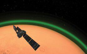Аппарат миссии «ЭкзоМарс» замечает уникальное зеленое свечение атмосферы Марса