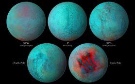 Наблюдения в ИК-диапазоне выявили свежий лед в северном полушарии Энцелада